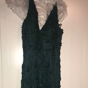 Hunter green lace gown, bottom is sheer.